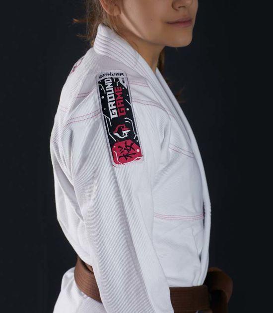"Dámské kimono GI BJJ  Ground Game ""Sakura"" (Bílé)"
