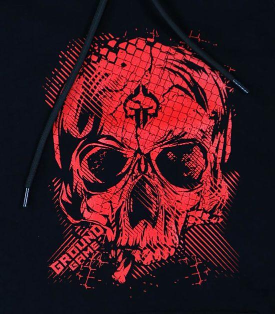 """Pánská mikina s kapucí Ground Game """"Red Skull"""" černá"""