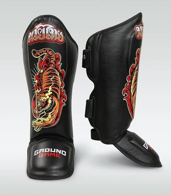 """Ochraniacze na piszczele PRO """"Red Tiger"""" w stylu Muay Thai"""